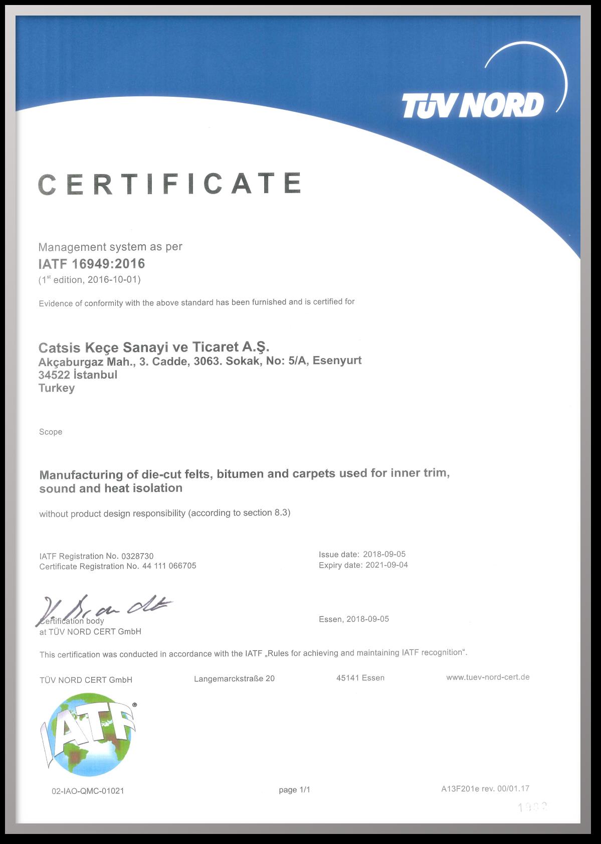 zertifikat iatf 16949-2016